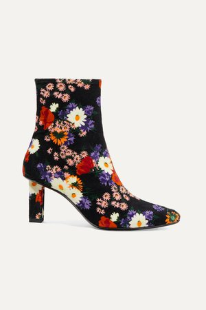 Black Brando floral-print velvet ankle boots | STAUD | NET-A-PORTER