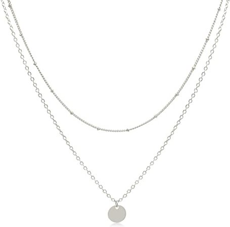 Amazon.com: Dainty Layered Silver Coin Choker Necklace Handmade Disc Pendant Chic Layering Necklace for Women Girls: Jewelry