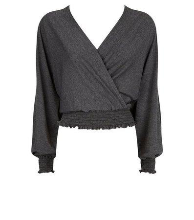 Carpe Diem Dark Grey Wrap Batwing Top | New Look