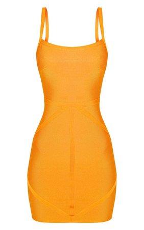 Bright Orange Strappy Bodycon Dress | Dresses | PrettyLittleThing USA
