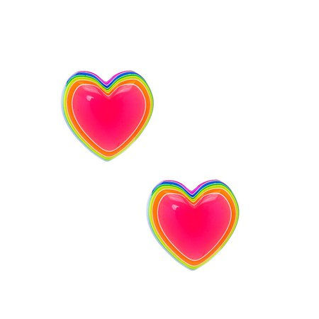 Sterling Silver Neon Rainbow Heart Stud Earrings | Claire's US