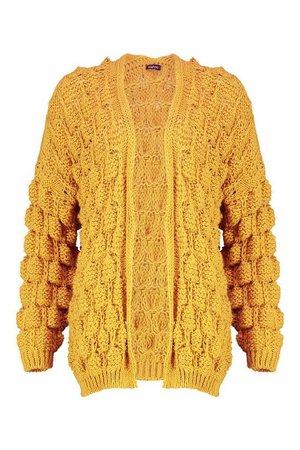 Bobble Knit Cardigan | Boohoo yellow