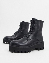 ASOS DESIGN Attitude 2 lace up chunky boots in black   ASOS