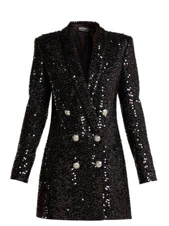 Double-breasted sequinned blazer dress | Balmain | MATCHESFASHION.COM