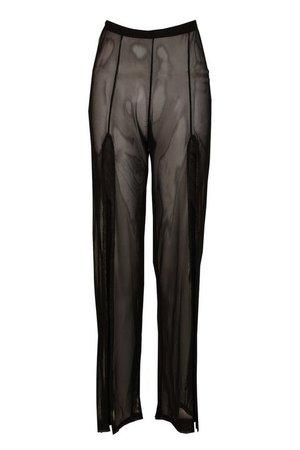 Petite Split Leg Mesh Trousers   Boohoo UK
