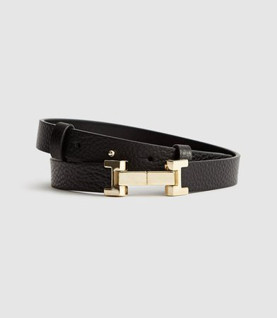 Hayley Black Leather Square Hinge Belt – REISS