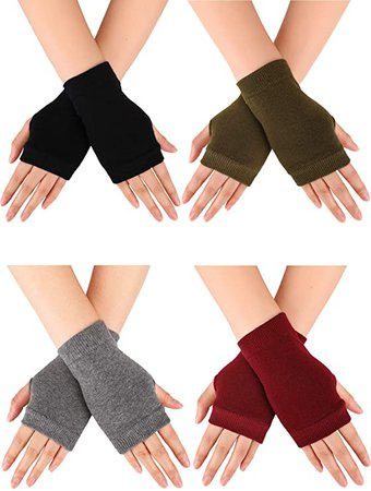 Blulu Fingerless Warm Gloves with Thumb Hole Cozy Half Fingerless Driving Gloves Knit Mittens for Men, Women at Amazon Women's Clothing store