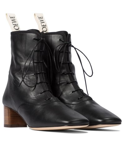 Loewe - Lace-up leather ankle boots | Mytheresa