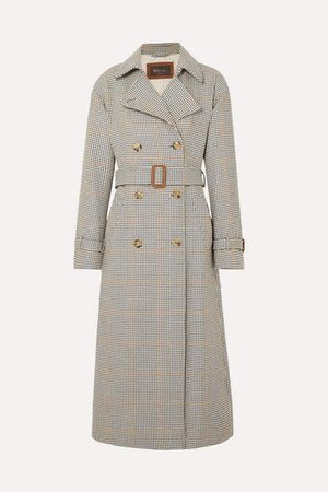 Houndstooth Wool Trench Coat - Neutral