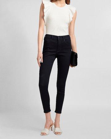 Mid Rise Dark Wash Knit Skinny Jeans