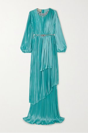 Blue Crystal-embellished pleated satin gown | Gucci | NET-A-PORTER