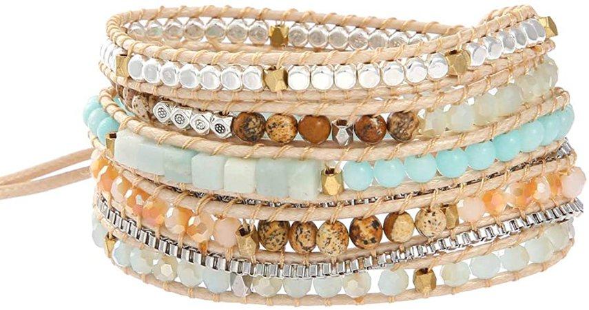 IUNIQUEEN Women Boho 5 Wraps Handmade Beaded Statement Stainless Steel Box Chain Bracelet Jewelry: Jewelry