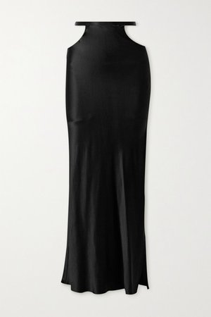 Cutout Silk-satin Maxi Skirt - Black