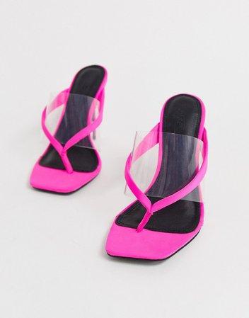 ASOS DESIGN Heritage toe thong heeled sandals in neon pink   ASOS