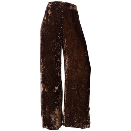 Gianfranco Ferre Crushed Brown Velvet Pants For Sale at 1stdibs