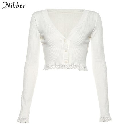 Nibber fall winter pure knitting lace crop tops women black white V neck T shirt 2019 wild stretch Slim office street tees mujer on AliExpress