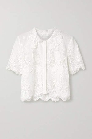 Zola Cropped Crochet-trimmed Cotton And Linen-blend Top - White