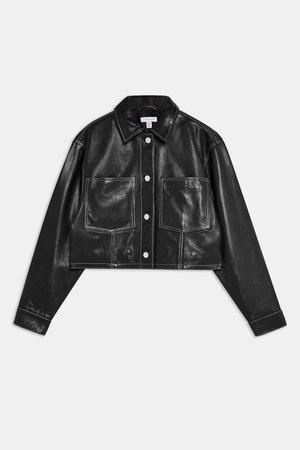Black Leather Western Jacket - Jackets & Coats - Clothing - Topshop USA