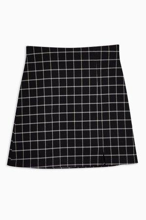 Black Windowpane Check Mini Skirt Plaid   Topshop