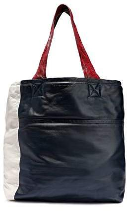 Color-block Leather Tote