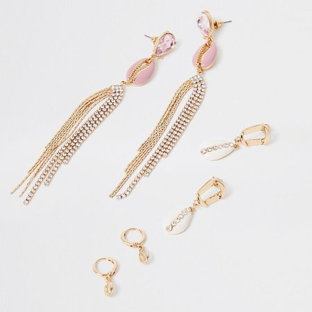 Pink shell earring 3 pack | River Island