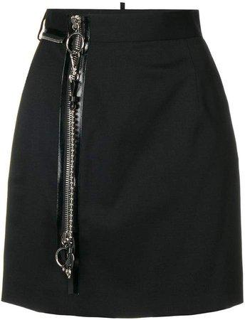 zip detail short skirt