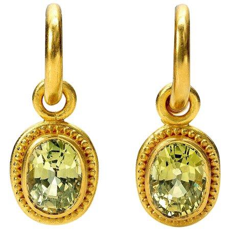 Chrysoberyl and 22 Karat Gold Hoop and Drop Earrings For Sale at 1stDibs