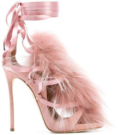 fur embellished sandals