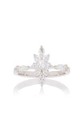 Yeprem Marquis Cluster 18K White And Diamond Ring