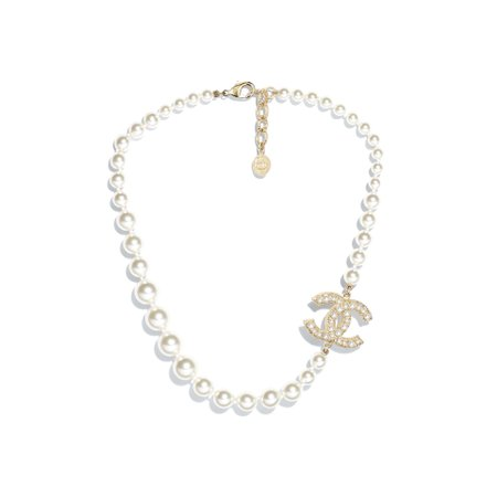 Metal, Resin & Glass Pearls Gold & Pearly White Necklace   CHANEL