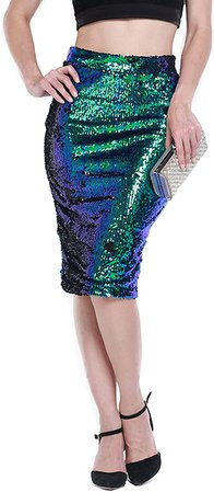 HaoDuoYi Womens Sparkle Mermaid Sequin High Waist Pencil Mini Skirt at Amazon Women's Clothing store