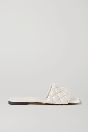 Quilted Leather Slides - White