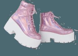 Holo Pink Kawaii Platform Boots