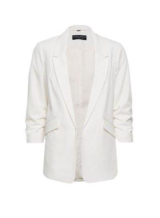 Ivory Ruched Sleeve Blazer Jacket | Dorothy Perkins
