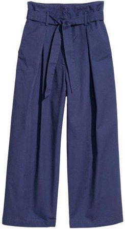 Wide-leg Cotton Pants - Blue