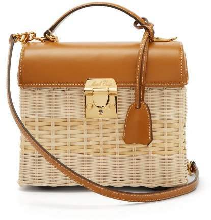 Sara Wicker And Leather Shoulder Bag - Womens - Tan Multi