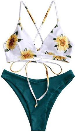 Amazon.com: ZAFUL Women Braided Straps Lace Up Bikini Set Bralette Swimsuit Flower Bathing Suit (Sunflower Yellow, S): Clothing