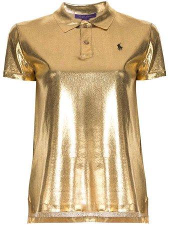 metallic polo shirt