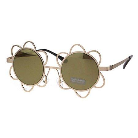 Amazon.com: Flower Sunglasses Womens Girls Cute Fashion Floral Frame UV 400 Gold, Brown: Clothing