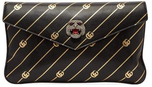 Broadway Gg Embossed Leather Clutch - Womens - Black Gold