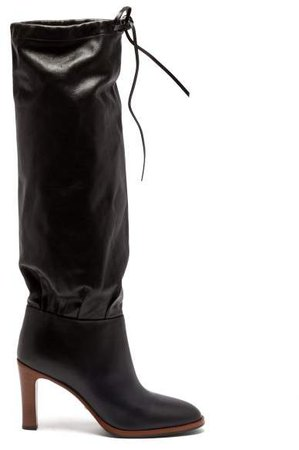 Lisa Leather Knee High Boots - Womens - Black