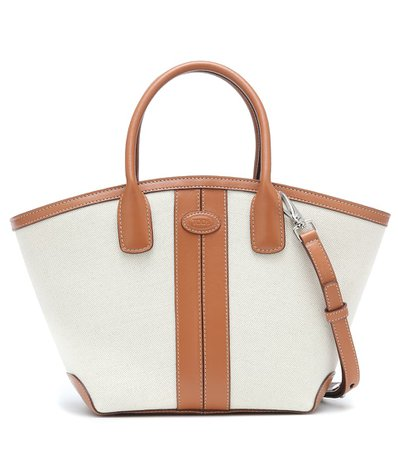 Tod's - Leather-trimmed canvas tote | Mytheresa