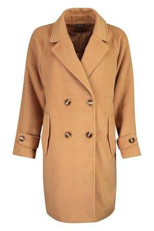 Brushed Wool Look Pocket Detail Coat | Boohoo camel