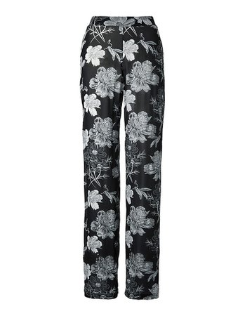 Floral print trousers, black/wool white, black, white | MADELEINE Fashion