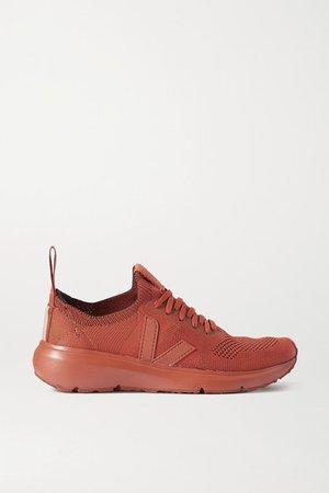 Veja Rubber-trimmed V-knit Sneakers - Orange