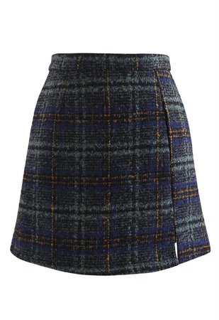 Check Print Wool-Blend Mini Bud Skirt in Teal - Retro, Indie and Unique Fashion