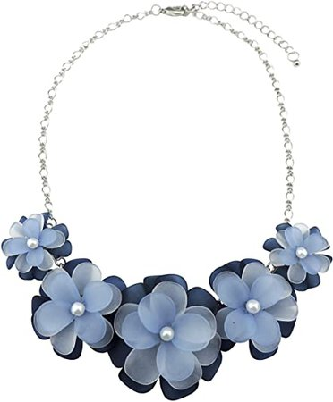 Bocar Statement Flower Choker Necklace for Women Blue Acrylic