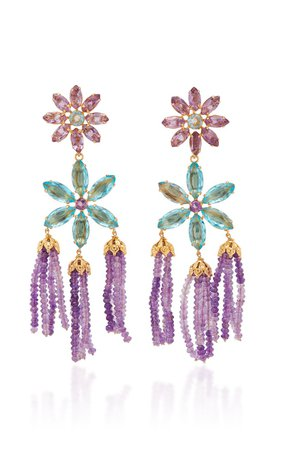 14K Gold-Plated, Amethyst and Quartz Earrings by Bounkit | Moda Operandi
