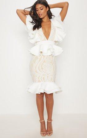White Ruffle Detail Plunge Midi Dress | PrettyLittleThing