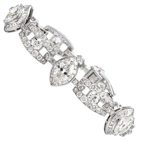 Vintage Diamond Art Deco 18 Karat White Gold Link Line Bracelet at 1stDibs